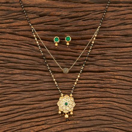 350588 Kundan Classic Mangalsutra With Gold Plating