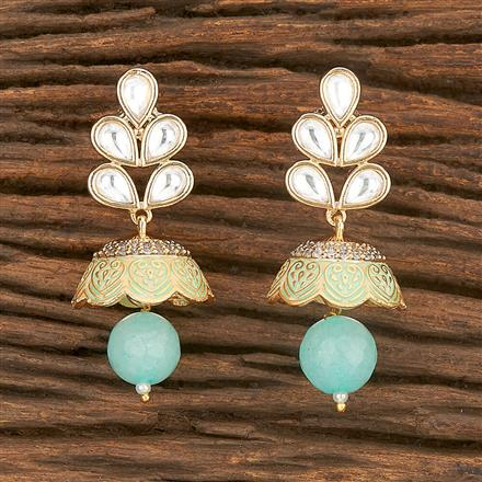 350599 Kundan Jhumkis With Gold Plating