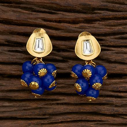 350606 Kundan Short Earring With Gold Plating