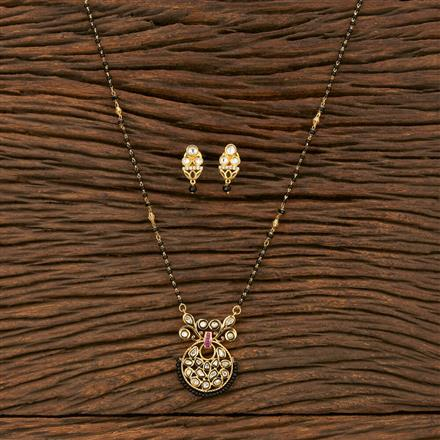 350615 Kundan Classic Mangalsutra With Gold Plating