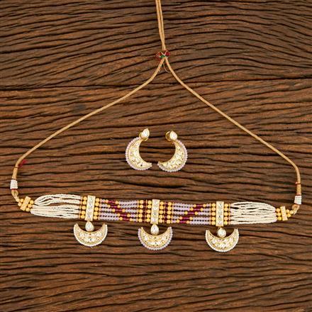 350617 Kundan Mala Necklace With Gold Plating
