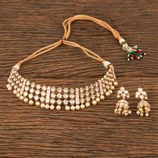 350618 Kundan Mukut Necklace With Gold Plating
