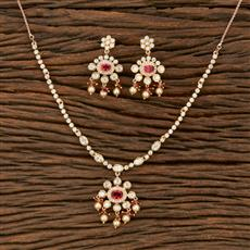 350619 Kundan Classic Necklace With Gold Plating