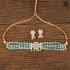 350620 Kundan Mala Necklace With Gold Plating