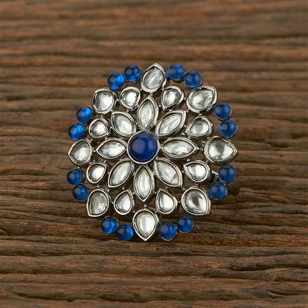 350635 Kundan Classic Ring With Black Plating