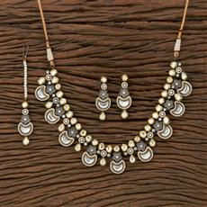 350665 Kundan Classic Necklace With Black Plating