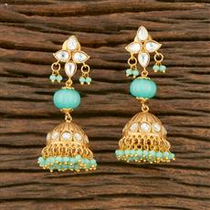 350670 Kundan Jhumkis With Gold Plating