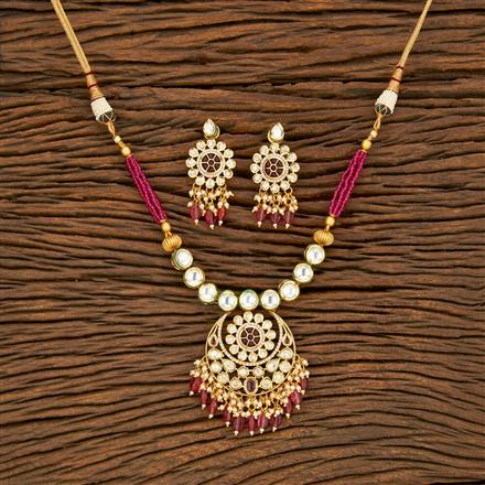 350677 Kundan Classic Necklace With Gold Plating