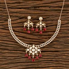 350680 Kundan Classic Necklace With Rose Gold Plating