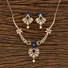 350681 Kundan Classic Necklace With Rose Gold Plating