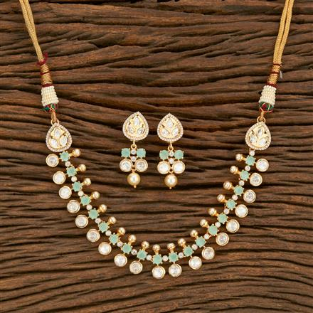 350682 Kundan Classic Necklace With Rose Gold Plating