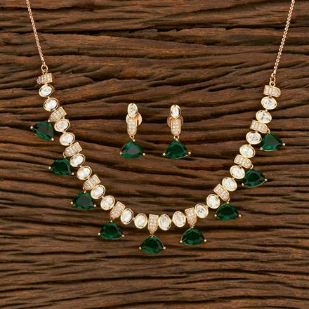 350683 Kundan Classic Necklace With Rose Gold Plating