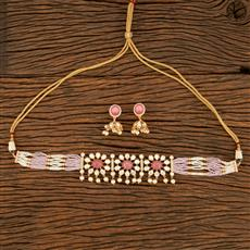 350687 Kundan Mala Necklace With Rose Gold Plating