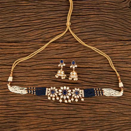 350688 Kundan Mala Necklace With Rose Gold Plating