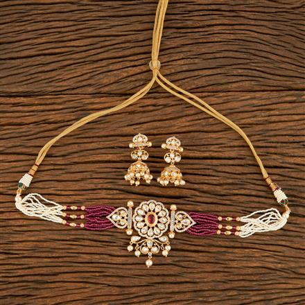350689 Kundan Mala Necklace With Rose Gold Plating