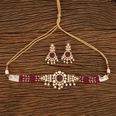 350690 Kundan Mala Necklace With Rose Gold Plating
