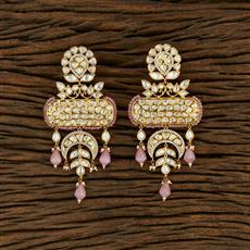 350693 Kundan Classic Earring With Gold Plating