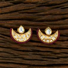 350703 Kundan Short Earring With Gold Plating