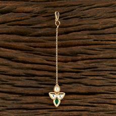 350706 Kundan Delicate Tikka With Gold Plating