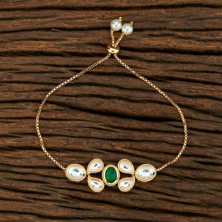 350710 Kundan Adjustable Bracelet With Gold Plating
