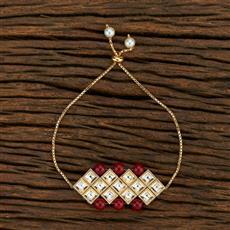 350711 Kundan Adjustable Bracelet With Gold Plating