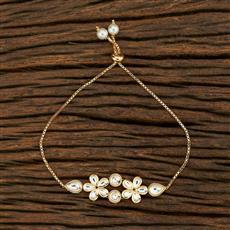 350712 Kundan Adjustable Bracelet With Gold Plating