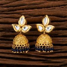 350721 Kundan Jhumkis With Gold Plating