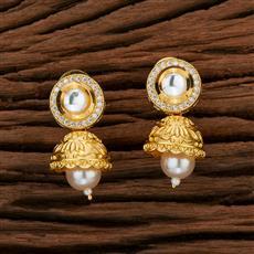 350722 Kundan Jhumkis With Gold Plating