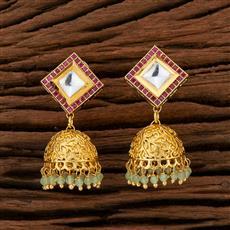 350725 Kundan Jhumkis With Gold Plating