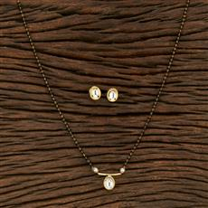 350727 Kundan Classic Mangalsutra With Gold Plating