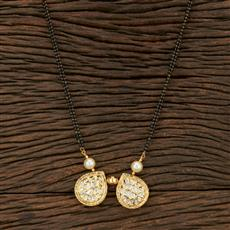 350730 Kundan Classic Mangalsutra With Gold Plating