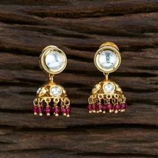 350740 Kundan Jhumkis With Gold Plating