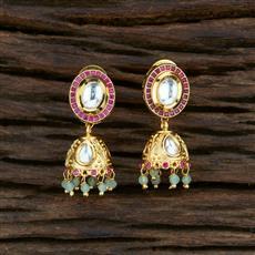 350742 Kundan Jhumkis With Gold Plating