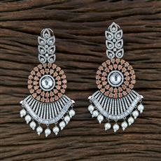 350756 Kundan Long Earring With Rhodium Plating