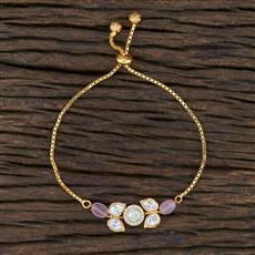 350757 Kundan Adjustable Bracelet With Gold Plating