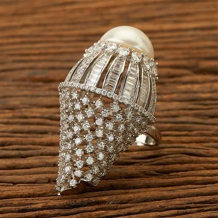 400027 Cz Classic Ring with rhodium plating