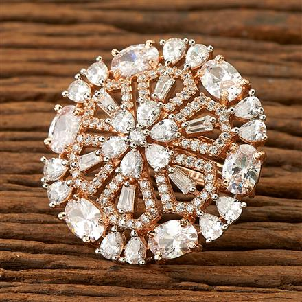 400028 Cz Classic Ring with rose gold plating