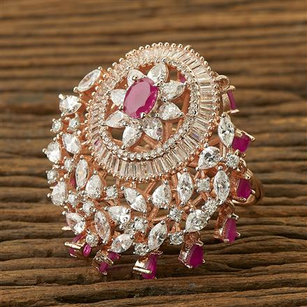 400036 Cz Classic Ring with rose gold plating