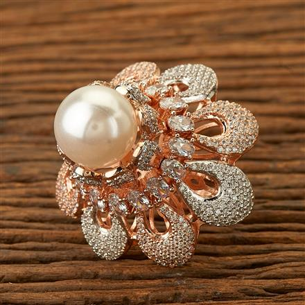 400038 Cz Classic Ring with rose gold plating