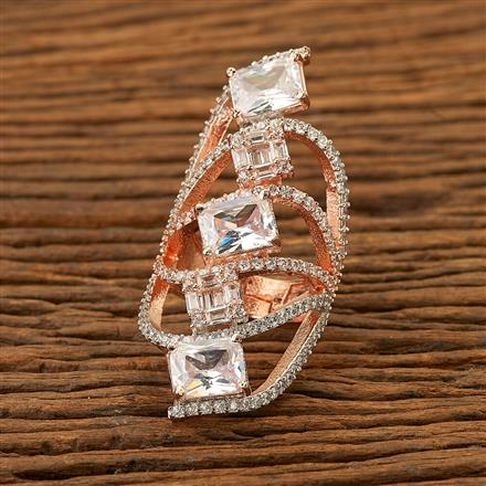 400040 Cz Classic Ring with rose gold plating