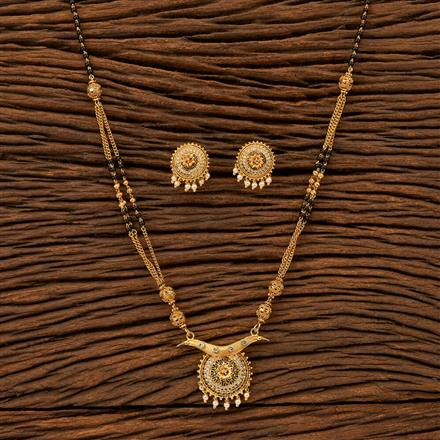 400308 Cz Classic Mangalsutra with gold plating