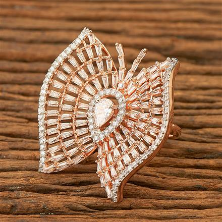 400344 Cz Classic Ring with Rose gold plating