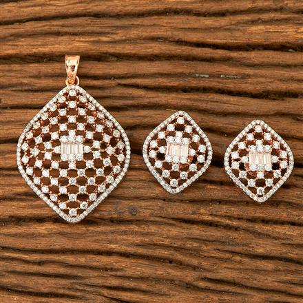 400382 Cz Classic Pendant set with Rose gold plating