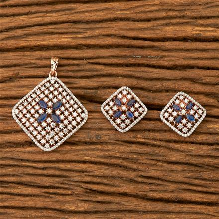 400384 Cz Classic Pendant set with Rose gold plating