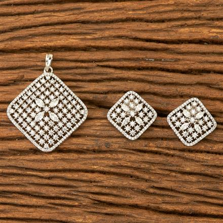 400385 Cz Classic Pendant set with Rhodium plating