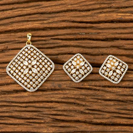 400386 Cz Classic Pendant set with 2 Tone plating