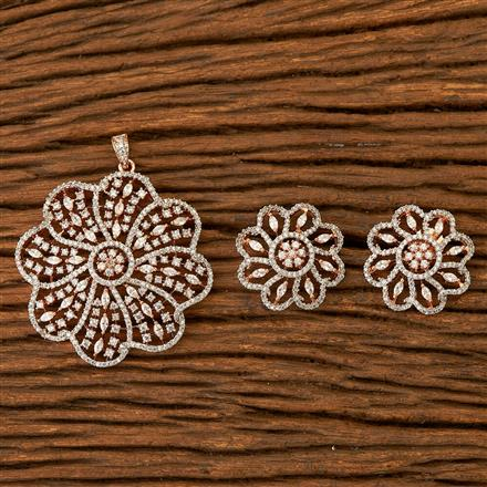400387 Cz Classic Pendant set with Rose gold plating