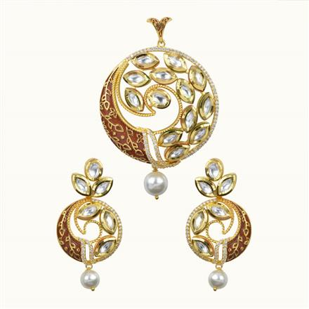 40060 Kundan Classic Pendant Set with gold plating