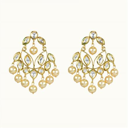 40061 Kundan Chand Earring with gold plating