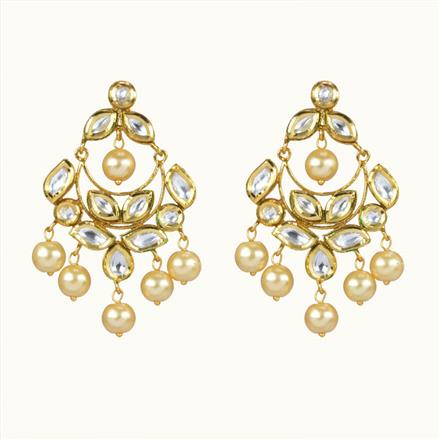 40062 Kundan Chand Earring with gold plating